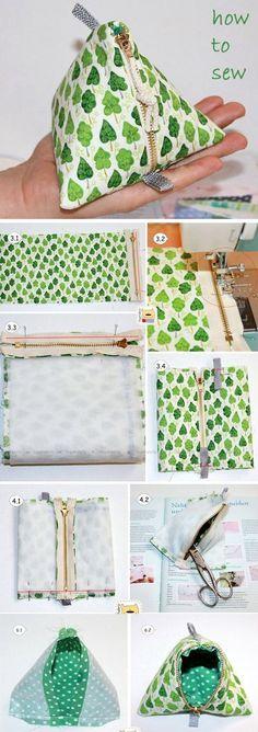 Pyramid Triangle Zipper Coin Purse Tutorial Bag Sewing Patterns & Tutorials Pyramid Triangle Zipper Coin Purse Tutorial Wenn Like: (Visited 1 times, 1 visits today) Small Sewing Projects, Sewing Projects For Beginners, Sewing Hacks, Sewing Tutorials, Sewing Crafts, Sewing Tips, Sewing Men, Sewing Ideas, Bag Tutorials