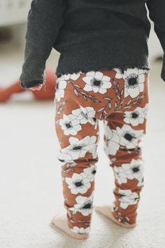 3d7079da1 Organic Rusty Flower Baby Girls Leggings by Lottie & Lysh Made in the  UK Baby