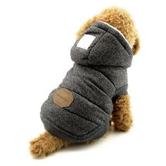 SELMAI Fleece Dog Hoodie Winter Coat For Small Boy Dog Cat Puppy Cotton Hooded Jacket Grey L * You can get additional details at the image link. (This is an affiliate link and I receive a commission for the sales) #CatApparel