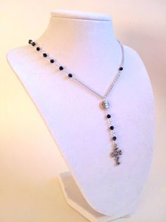 Cross Necklace Rosary Style - Real Housewives of Beverly Hills Cross Necklace - Small Silver Cross Womens Necklace on Etsy, $25.00