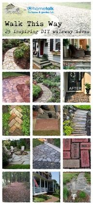 Home and Garden DIY Ideas Amazing DIY walkway ideas. Desperately needed because after 8 years we sti Lawn And Garden, Garden Paths, Garden Art, Garden Design, Walkway Garden, Outdoor Walkway, Landscape Design, Outdoor Projects, Garden Projects