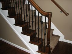 restain oak stair handrail and iron balusters - Google Search