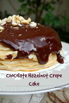 Chocolate Hazelnut Crepe Cake is a decadent crepe cake filled with luxurious hazelnut pastry creme and finished off with a thick chocolate sauce!! Chocolate Eclair Dessert, Chocolate Hazelnut, Cake Chocolate, Chocolate Lovers, Nutella Cake, Chocolate Pudding, Chocolate Desserts, Just Desserts, Delicious Desserts