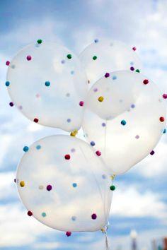 Rainbow pom pom balloons!