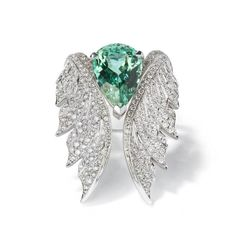 Stephen Webster Magnipheasant open feather ring and green tourmaline cocktail ring - June 01 2019 at Cute Jewelry, Jewelry Box, Gold Jewellery, Silver Jewelry, Jewelry Case, Jewelry Holder, Fashion Jewellery, High Jewelry, Glass Jewelry