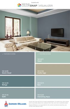 gorgeous living room color schemes to make your room cozy 8 ~ Modern House Design Interior Paint Colors For Living Room, Living Room Color Schemes, Bedroom Paint Colors, Paint Colors For Home, House Colors, Accent Wall Ideas For Living Room, Style At Home, Colorful Interiors, Home Fashion