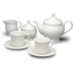 Mikasa Dinnerware Antique White 7-Piece Tea Set ($100) ❤ liked on Polyvore featuring home, kitchen & dining, teapots, kitchen, mikasa tea set, tea set, tea teapot, mikasa and tea pot