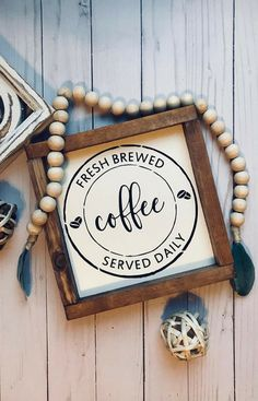 Coffee Bar Sign   Coffee Station Decor   Fresh Brewed Coffee Served Daily   Kitchen Wall Art   Farmhouse Style   Rustic Signs   TheRusticNorthCo on Etsy #coffee #rustic #ad #farmhouse
