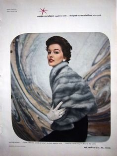 FUR STOLE - 1952- EMBA CERULEAN SAPPHIRE MINK BY MAXIMILIAN.   #Stole #VintageStole    Read blogpost at http://www.whitestole.com/1/post/2013/12/the-small-embrace-bolero-stole-became-a-lasting-fashion.html See entire vintage collection at www.whitestole.com