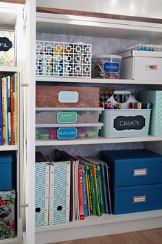 IHeart Organizing: A Crafty Kid's Cabinet - I love this!  It is on iheartorganizing.blogspot.com.  I follow this blog.  Jen is awesome and gives such great ideas!