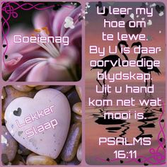 Psalms 16 11, Good Night Blessings, Goeie Nag, Afrikaans Quotes, Sleep Tight, Verses, Projects To Try, Blessed, Anna