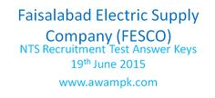 Faisalabad Electric Supply Company (FESCO) NTS Answer Keys on 19th June 2015