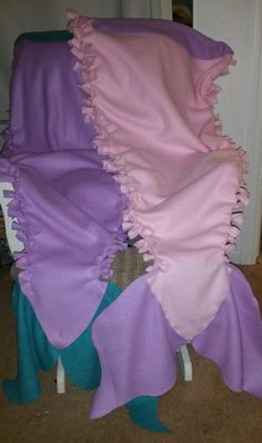 Pastel colors for spring/Easter tied fleece mermaid tail blanket by MidwestSheller on Etsy save $3 w/code 3offmarch