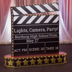 Use our Lights, Camera, Party! Hollywood Sign to set the scene for a star-studded event. This freestanding prop spells out Hollywood and is accented with string lights. Hollywood Birthday Parties, Birthday Party Celebration, Old Hollywood Party, Hollywood Night, Vintage Hollywood, Red Carpet Theme Party, Red Carpet Event, Homecoming Themes, Homecoming Floats