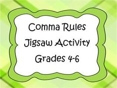 Comma Rule Jigsaw Activity-teaching others leads to retention rates and better transfer of skills 7th Grade Ela, 5th Grade Writing, 5th Grade Teachers, 4th Grade Reading, Kids Writing, Grammar And Punctuation, Teaching Grammar, Grammar Lessons, Teaching Writing