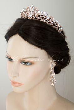 Rose Gold Wedding Tiara Headpiece
