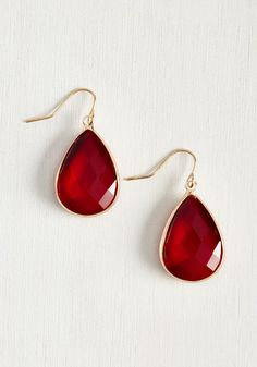 Receiving Drop Honors Earrings in Red. Add these gorgeous ruby red earrings to your outfit, and earn a round of applause for your unparalleled accessorizing! #red #modcloth