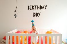 First birthday balloons in crib » Emily McCall