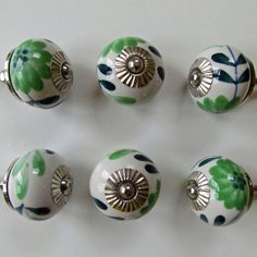 "Ceramic Knobs, Set of 6, ""Green Anemone"", Cabinet Hardware, Green and White…"