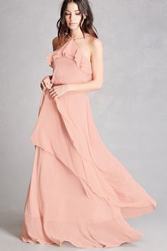 A crepe woven maxi dress by Soieblue™ featuring a halter neckline, draped flounce layers, adjustable cami straps, a tiered skirt, and a concealed back zipper This is an independent brand and not a Forever 21 branded item.