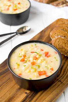 This summer corn chowder is comfort food that can be enjoyed anytime of the year. Sweet corn, red pepper and potato swimming in a light, creamy broth.
