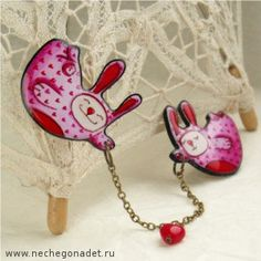 Cute illustration  made by artist Yana Fefelova. Double Brooch Bunny Angels by Nechegonadet on Etsy, $27.50