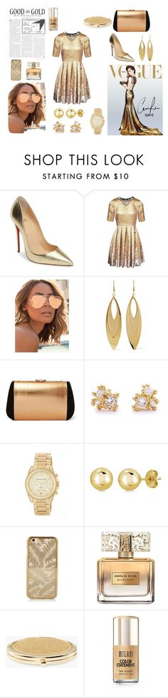 """""""Good as Gold #1"""" by yologirl4233 ❤ liked on Polyvore featuring Christian Louboutin, Matthew Williamson, Quay, Kenneth Jay Lane, Nina Ricci, Ruth Tomlinson, MICHAEL Michael Kors, BERRICLE, Givenchy and Chico's"""