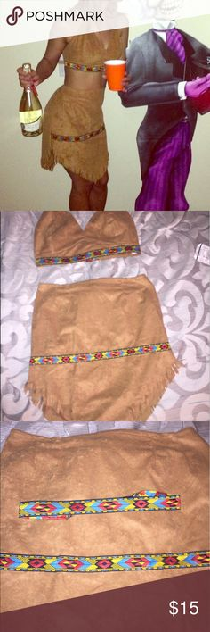 Sexy Native American 3 piece Halloween Costume Sexy Native American 3 piece Halloween Costume- comes with top, skirt, and headband! Worn once! Super cute! Marked Size x-small (size 4-6).                                    Skirt (top across) 14 inches/ 19 inches long from top of skirt to bottom.   Top (bottom of top) 14 inches wide Other