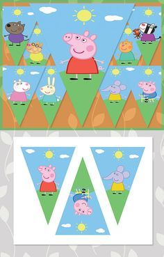 Peppa Pig Birthday Banner Characters // Peppa Pig Banner // Peppa Pig Party…