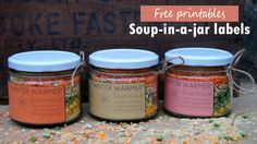 Free printables - soup in a jar labels (perfect for presents!)