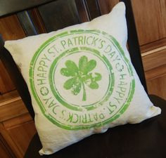 St Patrick's Day Pillow - stencil cut from vinyl, then stencilled onto a plain muslin pillow cover.