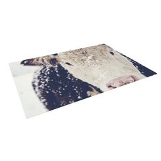 Kess InHouse Debbra Obertanec Snowy Cow Black White Outdoor Patio Rug