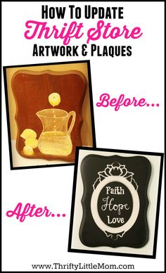 How To Update Thrift Store Art.  This is a step by step picture tutorial on how to take old thrift store artwork and make it look new again.  It's an example of upcycling thrift store finds which is inexpensive and fun!
