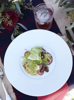 A winter salad at The Ranch at Rock Creek that's as bold as the weather. Frisée with big sky onion, poached pears, Poor Orphan Creamery Bumble and salted pecans. Photo by David Engelhardt for Relais & Châteaux.