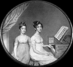 regency dresses: Portrait of Miss Harriet and Miss Elizabeth Birney, by J. Smart, 1806