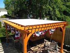 Stunning Pergola Covers Make Comfort of Your Patio: Backyard Pergola With Pergola Covers And Wood Fences Also Outdoor Furniture With Patio Pavers And Lawn Plus Canopy Gazebo For Backyard Landscape And Patio Decoration Ideas