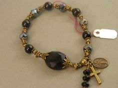 Rosary Bracelet Black Agate and Frosted Black Crystal Beads Miraculous Medal Stretchable