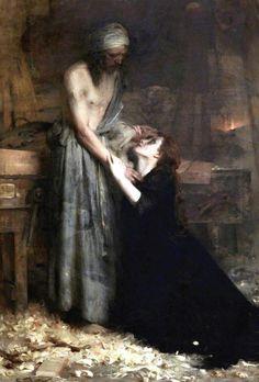 pre-raphaelisme:Christ and the Magdalene by Arthur Hacker, 1890.