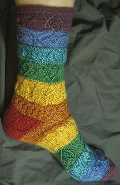 Seven Chakras, designed by Lisa Grossman, the Tsock Tsarina. Crochet Socks, Knitting Socks, Hand Knitting, Knit Crochet, Knitting Patterns, Comfy Socks, Warm Socks, Mitten Gloves, Mittens