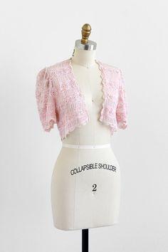 antique 1910s lace shrug / Edwardian lace jacket / Pink Lace Wedding Bolero
