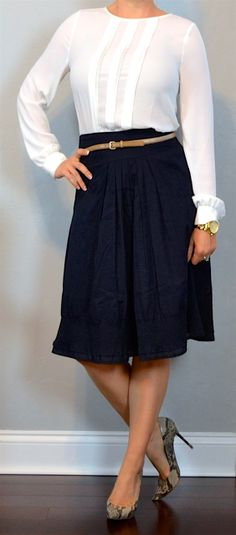 outfit post: white pleated blouse, navy a-line midi skirt, pointed toe snakeskin pumps | Outfit Posts
