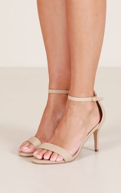 Delicate and feminine, these understated shoes feature a kitten heel and an ankle strap to keep you comfortable all night long. - Non-leather upper, man made lining and sole - Heel height: / Strappy Sandals Heels, Fashion Heels, Ankle Strap, Kitten Heels, Feminine, Nude, Legs, Leather, Shoes