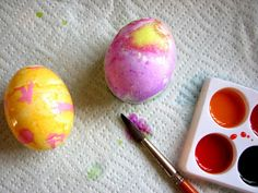 you can also paint the eggs with the liquid watercolor. older kids can use white crayon to mark a pattern on it then paint it.