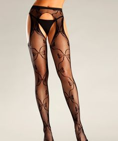 Take a look at this Black Bow Cutout Fishnet Tights - Women by Be Wicked! on #zulily today!