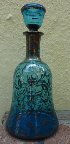 Love this for a little personality in the room.    Beautiful Cerulean Blue #Decanter #vintage by mysoulfulhome on #etsy $23.00 #bhteam