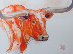 Bevo - Texas Long Horn | Carrie Wild Fine Art  Contemporary Wildlife Animal Painting