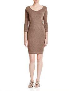 THREE DOTS Ribbed V Neck Dress. #threedots #cloth #dress
