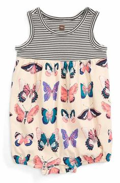 Tea Collection Locals Only Butterfly Bubble Romper (Baby Girls)