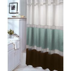 Elegant Marin Aquamarine And Brown Shower Curtain By Veratex
