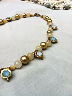 Baby Blue Rhinestones Gold and Smoky Quartz by ivylynnrobinson, $22.00